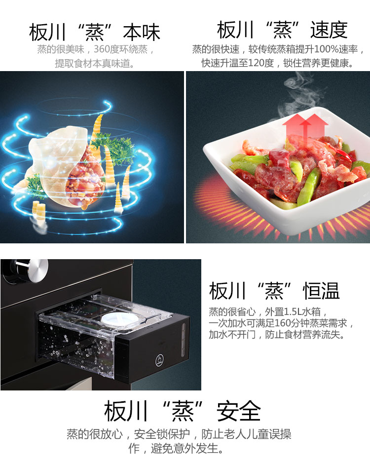 板川集成灶2019上海厨卫展参展企业 智优宝L20Z带蒸箱侧吸下排式集成灶