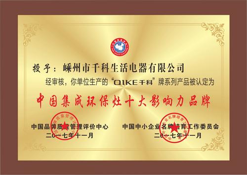 中国集成环保灶十大影响力品牌